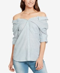 William Rast Cotton Off The Shoulder Button Front Shirt Smoke Blue