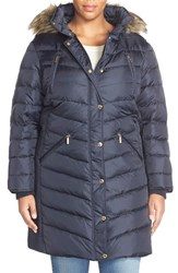 Plus Size Women's Michael Michael Kors Faux Fur Trim Down And Feather Puffer Coat Navy