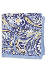 Men's Eton Paisley Silk Pocket Square Blue