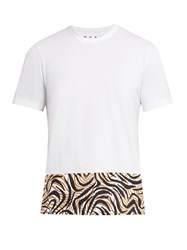 Marni Animal Printed Panel Cotton T Shirt White