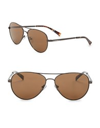 Calvin Klein 58Mm Aviator Sunglasses Satin Espresso