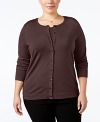 August Silk Plus Size Blend Cardigan Dark Clove
