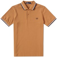 Fred Perry Slim Fit Twin Tipped Polo Brown