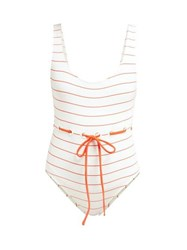 Solid And Striped The Anne Marie Tie Waist Swimsuit White Stripe