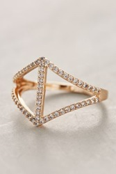 Anthropologie Pave Chevron Ring Gold