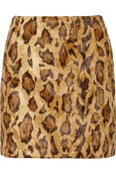 Shrimps Kitten Leopard Print Faux Fur Mini Skirt Animal Print