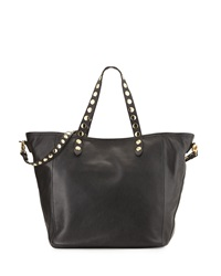 Isabella Fiore Martillado Studded Leather Tote Bag Black