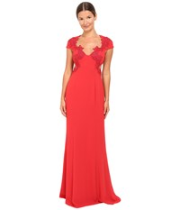 Marchesa Column Gown W Beaded Appliques Red