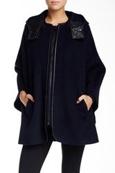 Vince Hooded Wool Blend Cape With Leather Trim Blue
