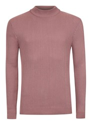 Topman Pink Ribbed Turtle Neck Slim Fit Sweater