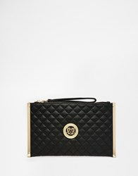 Love Moschino Quilted Clutch With Wristlet Strap In Black 000Black