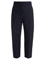 Joseph Haim Wool Blend Twill Trousers Navy