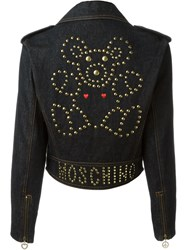 Moschino Vintage Denim Biker Jacket Blue