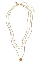 Topshop Layered Pendant Necklace Gold