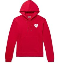 Sandro Flocked Loopback Cotton Jersey Hoodie Red