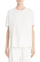Adam By Adam Lippes Women's Pompom Trim Satin Crepe Tee
