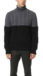 Ovadia And Sons Half Cable Turtleneck Sweater Charcoal Black