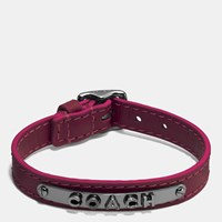 Leather Buckle Coach Plaque Bracelet Black Burgundy