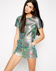 Lashes Of London Oil Print Quilted Boxy T Shirt Multi