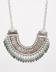 Reclaimed Vintage Statement Coin Necklace Silver