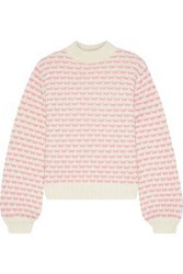 Iris And Ink Woman Holly Wool Blend Jacquard Sweater Ivory