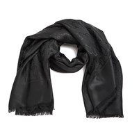 Marc Jacobs Women's Monogram Logo Shawl Scarf Black