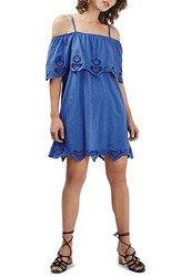Topshop Petite Women's Cutwork Trim Strappy Sundress Blue