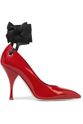 Miu Miu Satin Trimmed Patent Leather Pumps Red