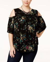 Eyeshadow Trendy Plus Size Cold Shoulder Blouse Black