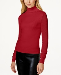 Xoxo Juniors' Pointelle Sleeve Turtleneck Sweater Medium Red
