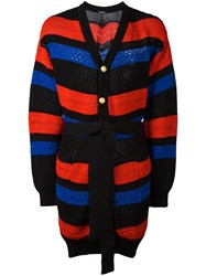 Balmain Striped Oversized Cardigan Black