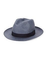 Saks Fifth Avenue Colorblock Straw Fedora Navy