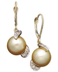 Macy's 14K Gold Earrings Cultured Golden South Sea Pearl 9Mm And Diamond 1 5 Ct. T.W. Drop Earrings Black