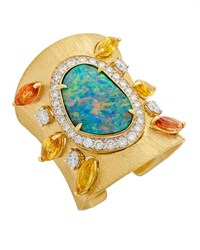 Margot Mckinney Jewelry Opal And Diamond Cuff Bracelet With Sapphires