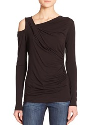 Bailey 44 Victoria Ruched Cutout Long Sleeve Tee Black