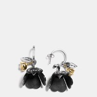 Coach Studded Tea Rose Earrings Gold Black