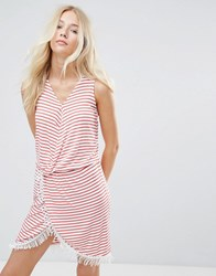 Blend She Simone Striped Wrap Dress Hibiscus Red