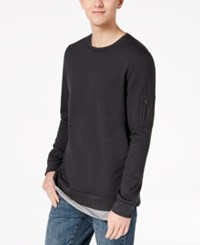 American Rag Men's Lightweight Contrast Inset Sweatshirt Created For Macy's Dark Lead