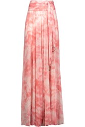 Roberto Cavalli Pleated Printed Stretch Jersey Maxi Skirt Pink