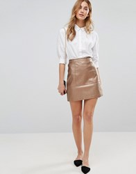 New Look Metallic Leather Mini Skirt Bronze Brown