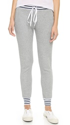 Splendid Mixed Venice Stripe Thermal Pants Heather Grey White