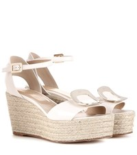 Roger Vivier Corda Leather Espadrille Wedge Sandals Neutrals