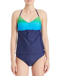 Adidas Colorblock Tankini Top Shock Teal