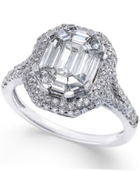 Macy's Diamond Engagement Ring With Halo 1 1 2 Ct. T.W. In 14K White Gold