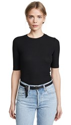 Goldie Ribbed Elbow Sleeve T Shirt Black