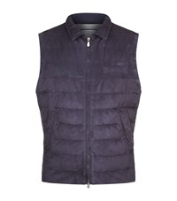 Brunello Cucinelli Quilted Suede Gilet Male Purple
