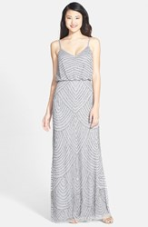 Adrianna Papell Petite Women's Embellished Blouson Gown Silver Gray