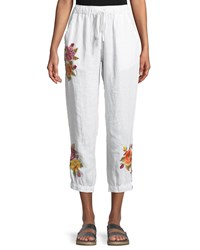 Johnny Was Vella Embroidered Linen Jogger Pants White