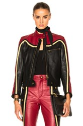 Chloe Leather And Nubuck Biker Jacket In Black Red Black Red