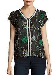 Collective Concepts Flutter Sleeve Floral Top